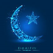 Muslim community festival Eid Al Fitr (Eid Mubarak) concept with decorated shiny moon and star on shiny blue background.