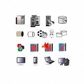 Colección de tecnologías de la información icono, símbolos