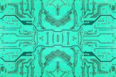 Green Symmetrical Electronic Microcircuit.background.
