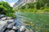 Beautiful Mountain River at the Lillooet Seton Lake Park. Vancouver, British Columbia, Canada.