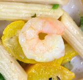 Close View Cooked Shrimp On Zucchini And Pasta