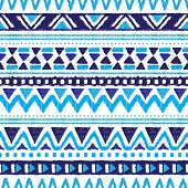 Seamless trend blue aztec vintage folklore background pattern in vector