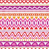 Seamless trend purple and orange aztec vintage folklore background pattern in vector