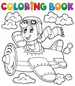 Coloring book airplane theme 1 - eps10 vector illustration.