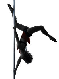 image of lap dancing  - one caucasian woman pole dancer dancing in silhouette studio isolated on white background - JPG
