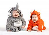 stock photo of pretty-boy  - Two baby boys dressed in animal costumes over white - JPG