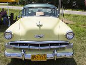 1954 Yellow Chevy Front View