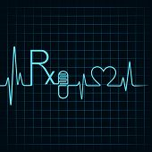 Heartbeat make Rx text,capsule and heart symbol