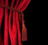 foto of tassels  - Red theatre curtain and red tassels - JPG