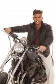 Man Leather Jacket On Motorcycle Sit Happy