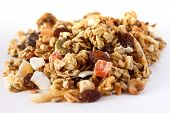 Mixed rich fruit and nut muesli on white