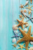 stock photo of starfish  - Seashells and starfish Over Wooden background - JPG