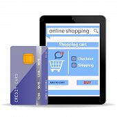 Online Shopping  Concept E-commerce Technology With Modern  Tablet Pc And Credit Card Isolated On Wh