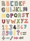 image of hand alphabet  - Illustration of a set of hand drawn sketched and doodled kids ABC letters and font characters in childish style also containing dollar and euro currency symbols - JPG