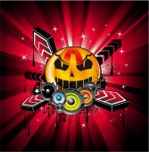 foto of rock star  - Abstract Halloween Rainbow Disco Music Background for Event Flyers - JPG