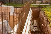 foto of formwork  - formwork for the concrete foundation building site horizontal outdoors - JPG