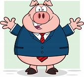 Businessman Pig Character With Open Arms