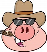 Pig Head Character With Sunglasses,Cowboy Hat And Cigar