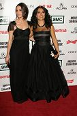 Mia Maestro and Salma Hayek at the 21st Annual American Cinematheque Award Honoring George Clooney.