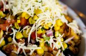 stock photo of mexican food  - Fresh ingredients for a Mexican burrito with chicken - JPG