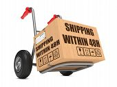 Shipping within 48h - Cardboard Box on Hand Truck.