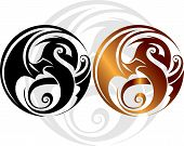 twin japanese dragon rings on white background