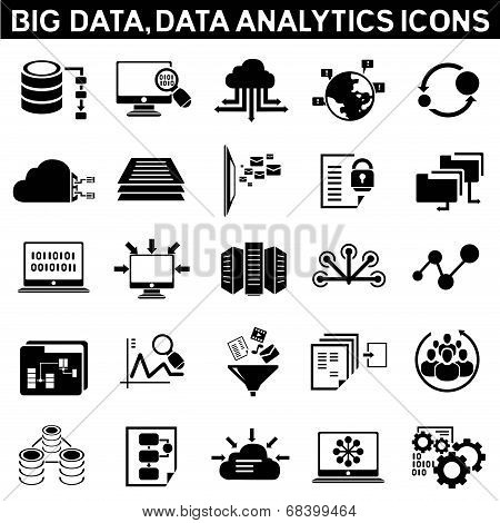 big data icons, data analytic icons poster