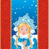 Snow Maiden on a blue background with white snowflakes.