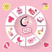 Circle Vector Baby Infographic.new Born Baby Girl