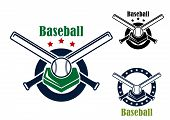 picture of baseball bat  - Baseball emblems and symbols with base - JPG