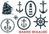 stock photo of anchor  - Marine and nautical heraldic elements  - JPG