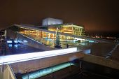 OSLO, NORWAY - DEC 31: National Oslo Opera House shines at sunrise on December 31, 2012. Oslo Opera