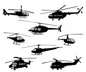 helicopters silhouettes collection