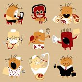 Vector icon set of doodle flat personages in the form of comic human characters in various life occupations and emotions