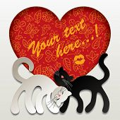 Vector valentine card with two paper white and black cats in love against a red heart with floral background