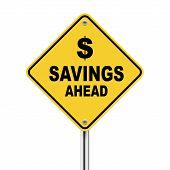 3D Illustration Of Savings Ahead Road Sign