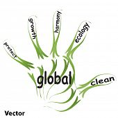 Vector conceptual abstract green ecology, conservation word cloud text in man hand or hand print on