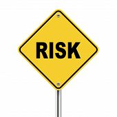 3D Illustration Of Yellow Roadsign Of Risk