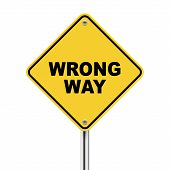 3D Illustration Of Yellow Roadsign Of Wrong Way