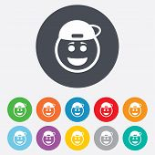 Smile rapper face icon. Smiley symbol.