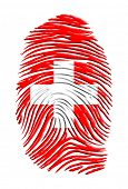 Swiss flag finger print