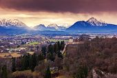 Fantastic view of the historic city of Salzburg. Austria, Europe. Beauty world.