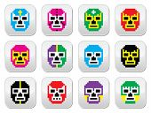 Lucha Libre, luchador pixelated Mexican wrestling masks buttons