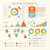 foto of hunt-shotgun  - Hunting animals wildlife fishing infographics with diagrams charts for template design vector illustration - JPG