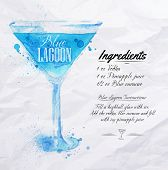 foto of cocktail menu  - Blue Lagoon cocktails drawn watercolor blots and stains with a spray - JPG