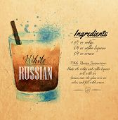 White  Russian cocktails watercolor  kraft