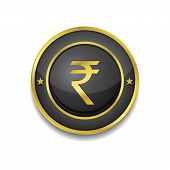 Rupee Currency Sign Circular Vector Golden Black Web Icon Button