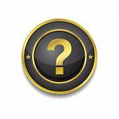 Help Circular Vector Golden Black Web Icon Button