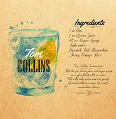 Tom Collins cocktails watercolor  kraft