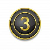 3 Number Circular Vector Golden Black Web Icon Button